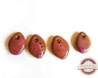 4 beads pendants drops ethnic ceramic pink 18 x 23 mm