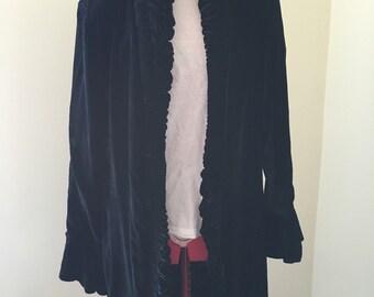 Oure black velvet coat / kimono