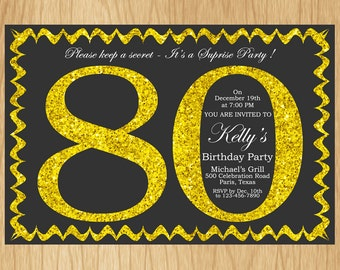 80th Birthday Invitation Gold Glitter Birthday Party Invite Adult Elegant Surprise Birthday Printable Digital ABGG80