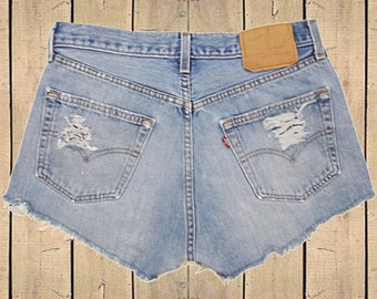 Vintage Levis 501 Denim Shorts USA Made Blue Distressed Frayed High Rise W31 (Approx Uk 10-12, Eu 38-40, Usa 6-8)