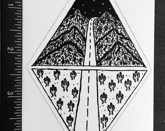 Road less travelled sticker
