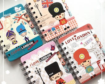 I LOVE LONDON Journaling Diary Planner Notebook with Tabs. Animation London