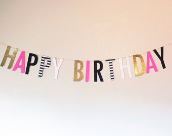 Birthday Banner |   Birthday Banner |   Banner | Birthday Party Decor | Happy Birthday Banner | Pink, Black, and Gold Banner
