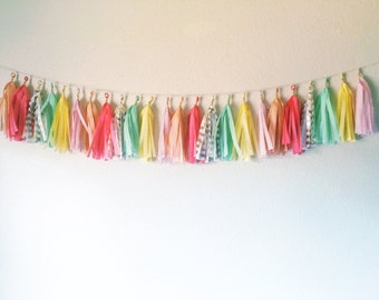 Mint, Gold, Peach, Coral, Gold, Yellow, and Pink Tassel Garland