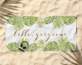 Oversized Beach Towel - Hello Gorgeous Palm Leaves - Green Gold White