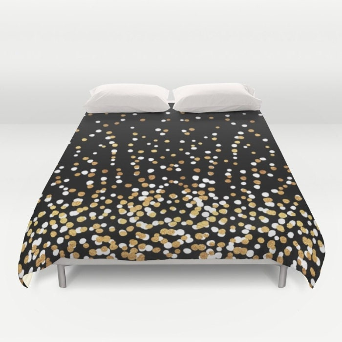 duvet cover or comforter floating dots gold black and white twin xl full queen or king. Black Bedroom Furniture Sets. Home Design Ideas