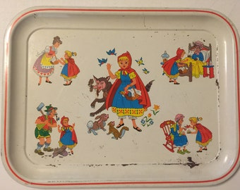 Vintage Little Red Riding Hood Metal Tray 1960's