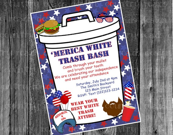 Patriotic White Trash Bash July Fourth Party Customized – White Trash Party Invitations