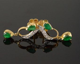18K 2.00 CTW Emerald Diamond Freeform Dangle Earrings Yellow Gold