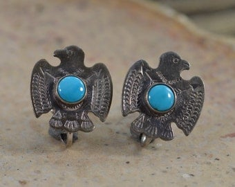 Sterling Native American Eagle with Turquoise Cabochon-Screw Back Earring - 3.8g - ES1029
