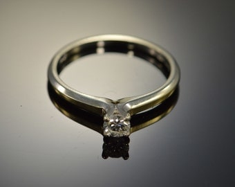 14K 0.20 G / SI1 CT Diamond Solitaire Engagement Ring - Size 6.25 / White Gold