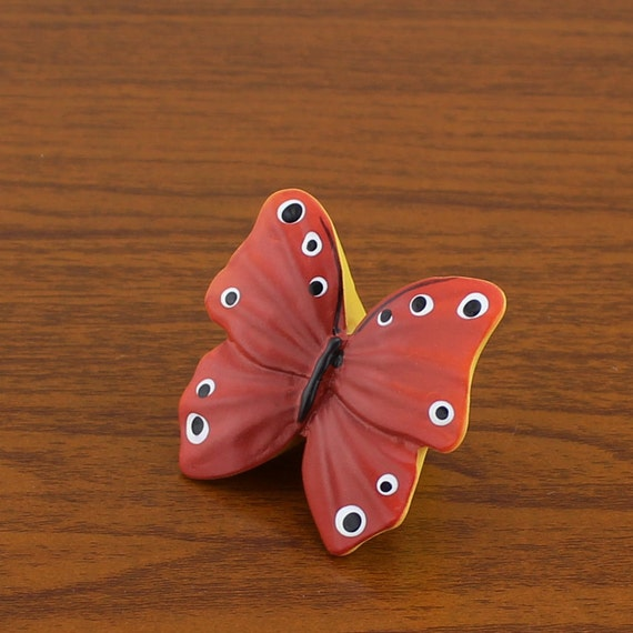 Red butterfly dresser knobs for girls home decorative for Children s bureau knobs
