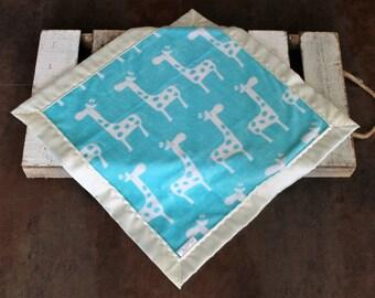 White & Teal Giraffe Blanket, Minky and Satin Blanket, Silky Baby Blankets, Silky Blanket, Security Blanket