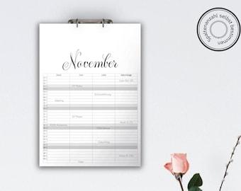 Family Calendar 'DELICATA', black // A3
