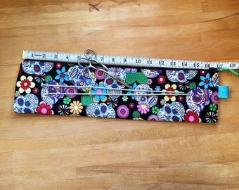 Knitting needle case, sugar skull, Day of the Dead, cool knitting needle bag, knitting pin bag, large knitting needle case, Mothers day