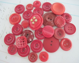 Mixed Lot Buttons, Mixed Buttons, Sewing Buttons, Vintage Buttons, Craft Buttons, Red Buttons, 28 pc.