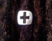 Silver dreadlock bead. Cross dread bead. Dread schmuck.