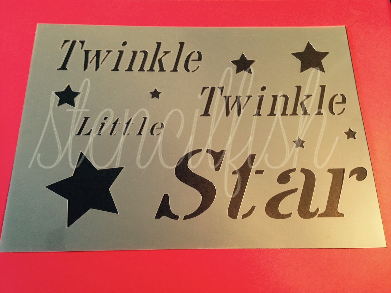 Twinkle little star stencil quote craft silhouette plaque for Quote stencils for crafts
