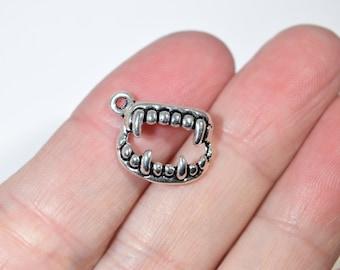 10 vampire teeth charms | silver charms | dracula charms | teeth charms | dental charms | goth charms | Halloween charms | 2P178