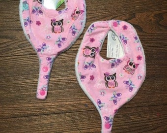 Pink Flannel Owls and Butterflies Handmade Pacifier/Teether Bib for Infants and Toddlers