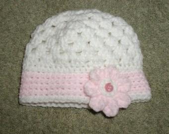 Hand Crochet Baby Hat 0-6 months