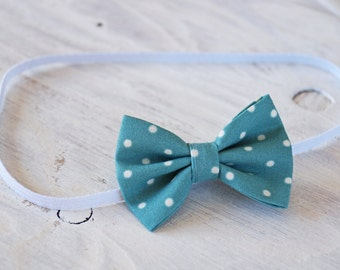 Turquoise and White Bow Headband or Clip, Hair Clip, Bow Headband