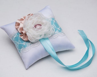 Bridal Ring pillow\Blue wedding pillow\Wedding pillow\Blue and chocolate