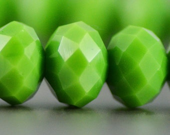 Chinese Crystal Rondelles in Vintage Opaque Lime Green 8x10mm