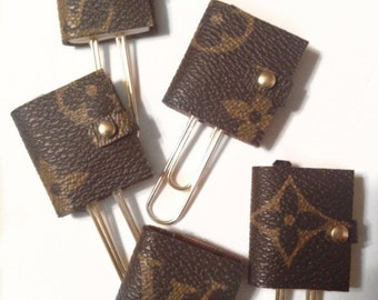 Louis Vuitton planner paper clips authentic canvas upcycled mini agenda