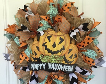 Halloween Wreath - Pumpkin Wreath - Fall Wreath - Halloween Decor