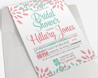 Mint and Coral Bridal Shower Invitation | Modern Bridal Shower Invite | Pink and Green Printable Invitation | Spring Bridal Shower Invite