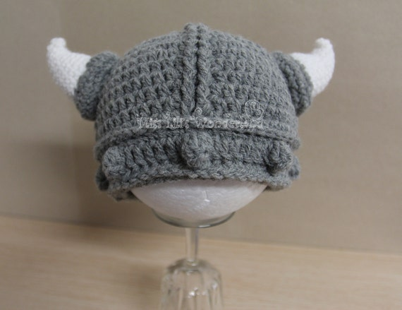 Crochet baby hat Crochet Beanie Baby viking hat Baby boy