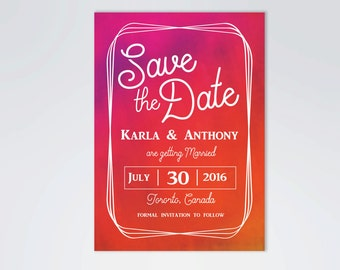 Summer Save the Date Announcement, Pink and Orange Save the Date Card, 5x7, Printable, Digital File