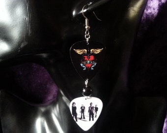 Double bon Jovi guitar pick earrings with a rosary connector