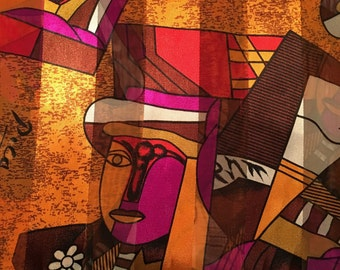 Vintage 1970's Rust Colored Picasso Scarf... Made from Cotton and Silk.