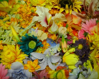 200+ Fabric Flower Blossoms Buds Pinks Purples Oranges Yellows Whites
