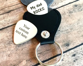 HUGE SALE! Personalized Guitar Pick with leather case, Customized, Engraved Guitar Pick - Gift for Husband, Dad, Boyfriend,
