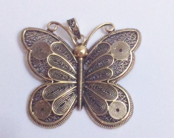 Filigree pendant bronze brass 7,3 cm charm butterfly findings supplies charm necklace filigree pendant big necklace pendant butterly pendant