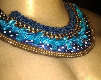 Blue bib necklace