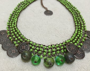wire crochet necklace Wire knitting, handmade, green necklase, authentic