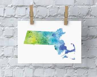 Massachusetts  Watercolor Map - Giclée Print of Hand Painted Original Art - 5 Colors to Choose From