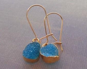 Blue Druzy Earrings/ Sea Blue Druzy Earrings/ Gold Edge Blue Rectangle Druzy / Small Light Blue Sea Blue Drusy / Gold Earrings//GE13