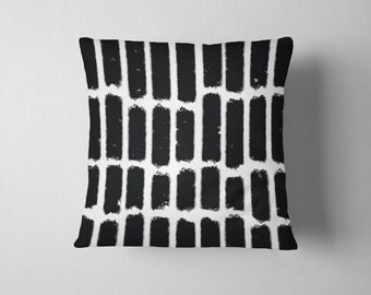 Black and white pastel stripe throw pillow