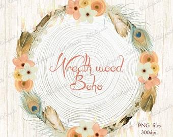 Wreath wood Boho, wood  Wreaths, floral wreath, bohemian Wreaths, boho wreath clipart, instant download.