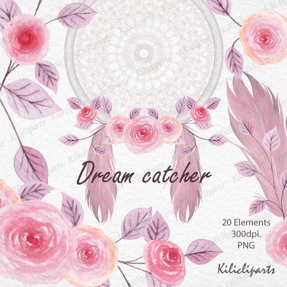 Dream Catcher Lace Dream Catcher Floral Watercolor Rose