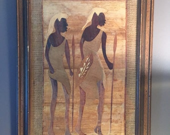 Vintage Original African Art / Aftican Framed Mix Media / Mosaic Wall Art / African Painting