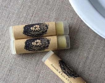 100 Personalized lip butter favors, personalized lip balm favors, bird nest lip balms, custom lip balms, Wedding favors
