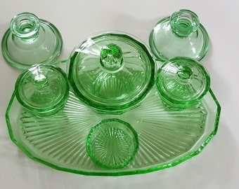 Vintage Green Glass Dressing Table set / 6 Piece