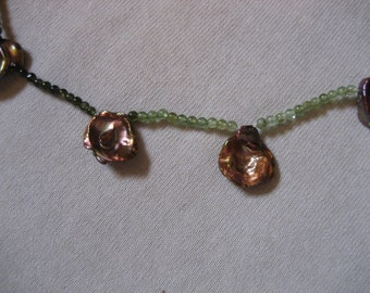 Tourmaline and Copper Colored Heishi Necklace, 14 Kt.