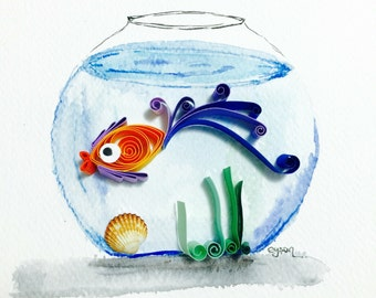 "Quilled paper art ""aquarium"""